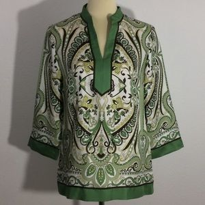 Ann Taylor 100% Silk Long Sleeve Print Blouse
